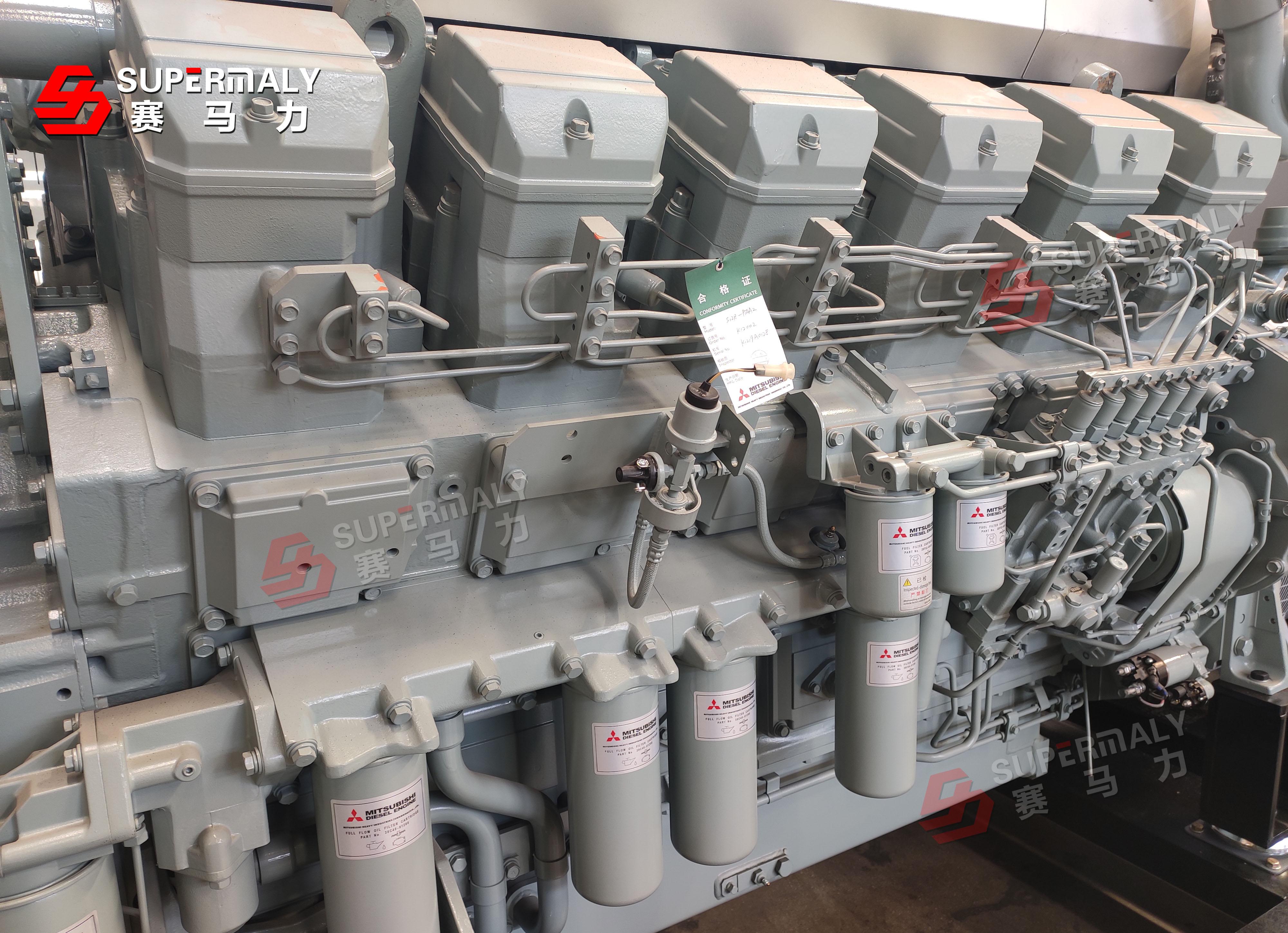 进口三菱柴油发电机组:赛马力1200kw三菱柴油发电机组调试完毕